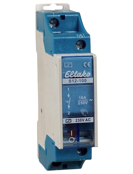 Eltako Stromstoßschalter, 230 V, Schließer, Glühlampenleistung 2300 W, Hutschienenmontage, Grau