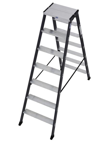 KRAUSE Stufen-Doppelleiter »MONTO«, Anzahl Sprossen: 14, Aluminium