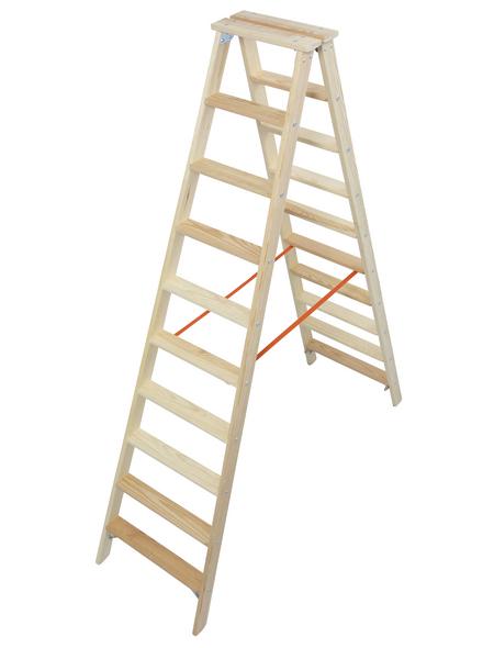 KRAUSE Stufen-Doppelleiter »STABILO«, Anzahl Sprossen: 20, Holz