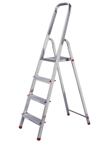KRAUSE Stufen-Stehleiter »CORDA«, 4 Sprossen, Aluminium