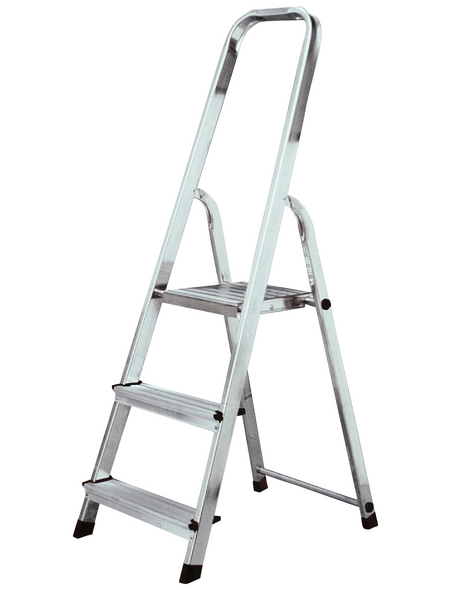 KRAUSE Stufen-Stehleiter »CORDA«, Anzahl Sprossen: 3, Aluminium