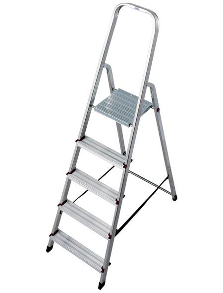 KRAUSE Stufen-Stehleiter »CORDA«, Anzahl Sprossen: 5, Aluminium