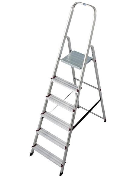 KRAUSE Stufen-Stehleiter »CORDA«, Anzahl Sprossen: 6, Aluminium