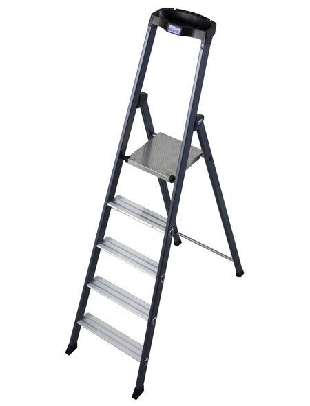 KRAUSE Stufen-Stehleiter »MONTO«, 5 Sprossen, Aluminium