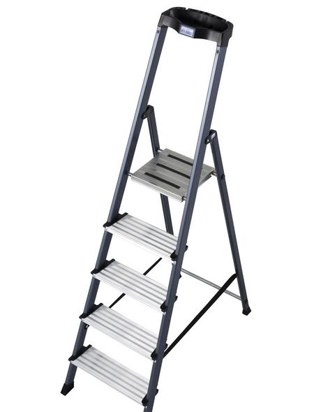 KRAUSE Stufen-Stehleiter »MONTO«, Anzahl Sprossen: 5, Aluminium