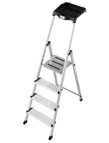 KRAUSE Stufen-Stehleiter »MONTO Secury«, 4 Sprossen, Aluminium