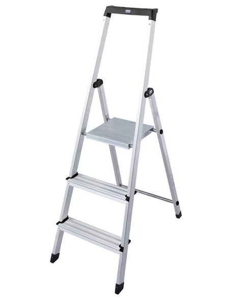 KRAUSE Stufen-Stehleiter »MONTO Solidy«, 3 Sprossen, Aluminium