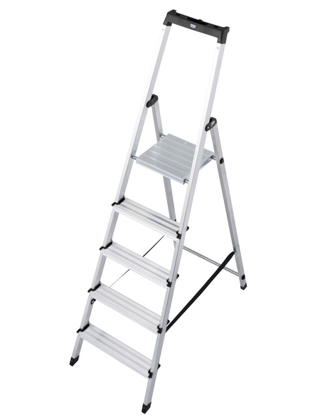 KRAUSE Stufen-Stehleiter »MONTO Solidy«, 5 Sprossen, Aluminium