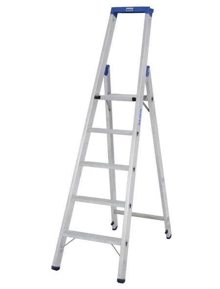 KRAUSE Stufen-Stehleiter »STABILO«, 5 Sprossen, Aluminium