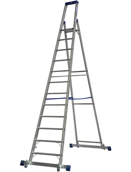 KRAUSE Stufen-Stehleiter »STABILO«, Anzahl Sprossen: 12, Aluminium