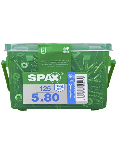 SPAX T20-Edelstahlschraube »T-STAR plus«, 46 x 80 mm, rostfreier Edelstahl, 125 Stück