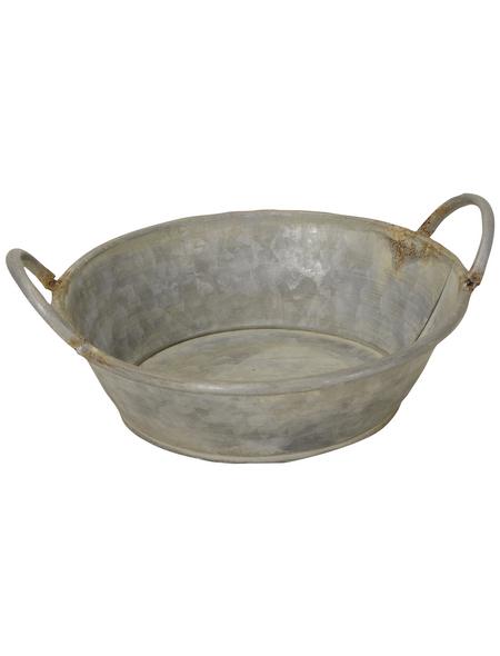 Tablett Tablett oval mit Griffen, L 46,5 x B 30,5 x H 6 cm, Griffe grau-braun