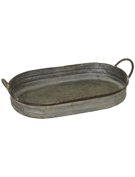 Tablett Tablett rund mit Griffen, D 25 x H 6 cm, 4 cm Griffe grau-braun