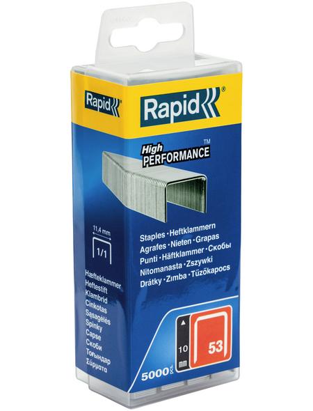 RAPID Tackerklammern, 10 mm, Heftklammer Typ 53, 5000 St., in wiederverschließbarer Kunststoffbox