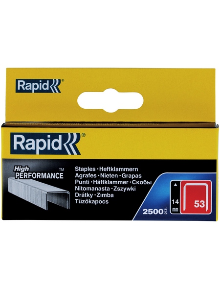 RAPID Tackerklammern, 14 mm, Heftklammer Typ 53, 2500 St., in Schachtelverpackung