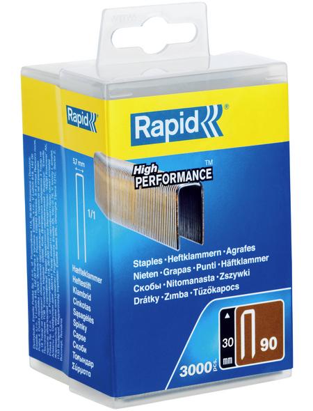 RAPID Tackerklammern, 30 mm, Heftklammer Typ 90, 3000 St., in wiederverschließbarer Kunststoffbox