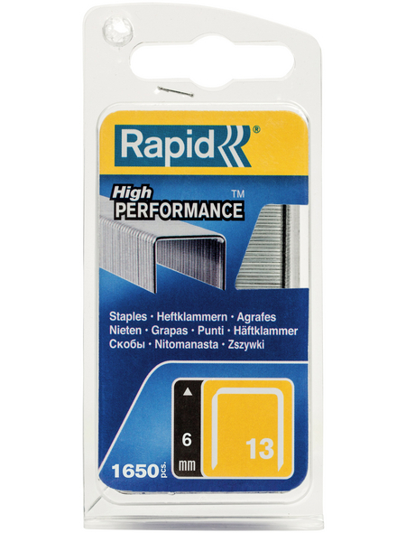 RAPID Tackerklammern, 6 mm, Heftklammer Typ 13, 1600 St., in Blisterverpackung