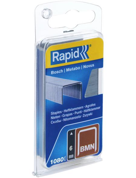 RAPID Tackerklammern, 6 mm, Heftklammer Typ BMN 53, 1080 St., in Blisterverpackung