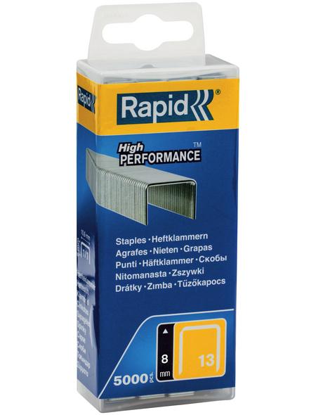 RAPID Tackerklammern, 8 mm, Heftklammer Typ 13, 5000 St., in wiederverschließbarer Kunststoffbox