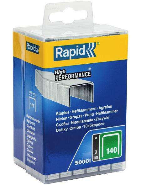 RAPID Tackerklammern, 8 mm, Heftklammer Typ 140, 5000 St., in wiederverschließbarer Kunststoffbox