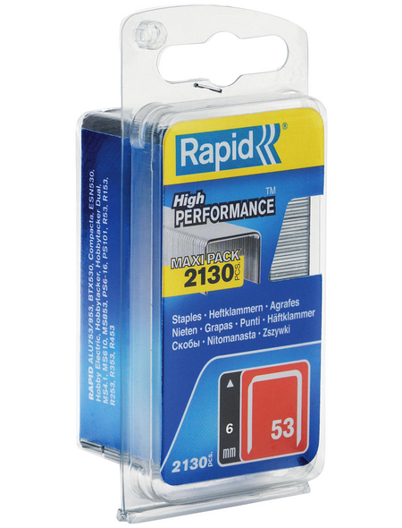 RAPID Tackerklammern, 8 mm, Heftklammer Typ 53, 2000 St., in Blisterverpackung
