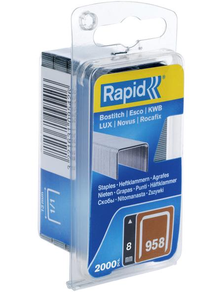 RAPID Tackerklammern, 8 mm, Heftklammer Typ 958, 2000 St., in Blisterverpackung