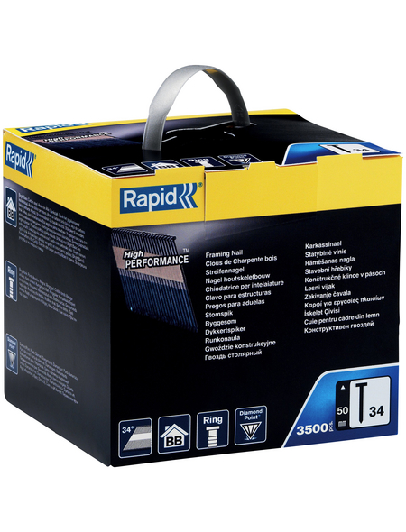 RAPID Tackernägel, 50 mm, Nägeltyp 34, 3500 Stück, Kartonbox