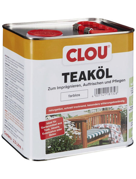 CLOU Teak-Öl, transparent, seidenglänzend, 2,5 l