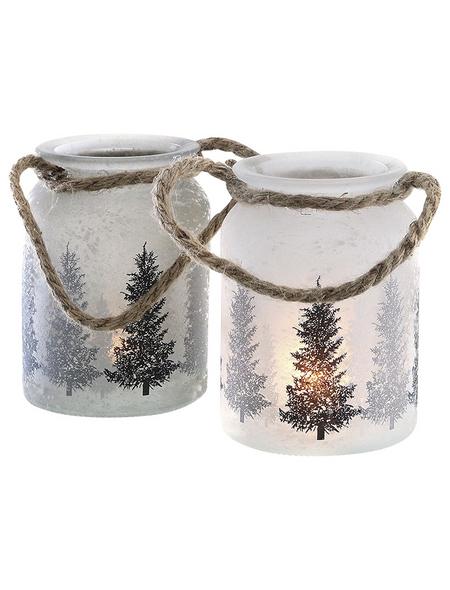Teelichtglas Winterwald, 11 x 10 cm
