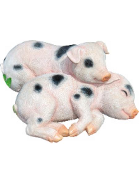 GRANIMEX Teichfigur »Chip und Chap«, Ferkel, Polystone, rosa/weiß