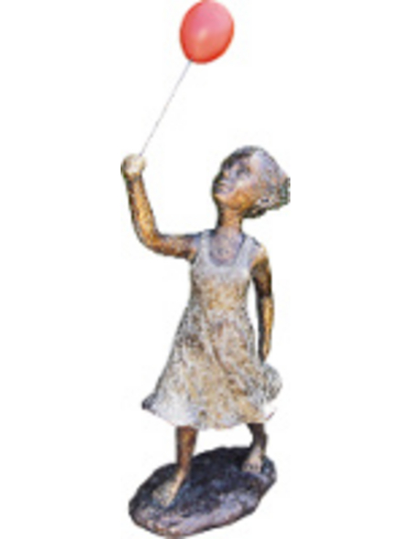 GRANIMEX Teichfigur »Fenja mit Ballon«, Polystone, bronzefarben