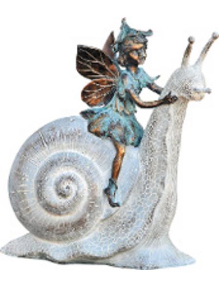 GRANIMEX Teichfigur, Feya auf Schnecke, Polystone, bronzefarben