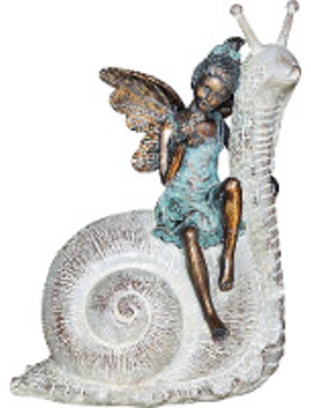 GRANIMEX Teichfigur »Rana auf Schnecke«, Polystone, bronzefarben
