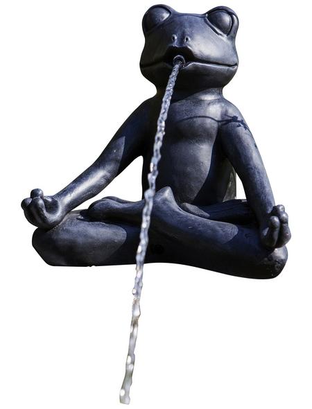 HEISSNER Teichfigur, Yoga-Frosch im Schneidersitz, Höhe: 23  cm, Polyresin, anthrazit