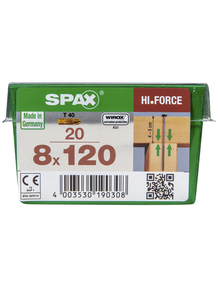 SPAX Tellerkopfschraube, HI.Force, 8 mm, Stahl, 20 Stk., 8 x 120 mm