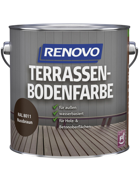 RENOVO Terrassenbodenfarbe, für außen, 4 l, Nussbraun, seidenmatt