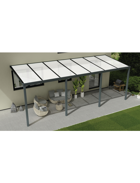 GARDENDREAMS Terrassendach »Easy Edition«, Breite: 700 cm, Dach: Polycarbonat (PC), Farbe: anthrazit