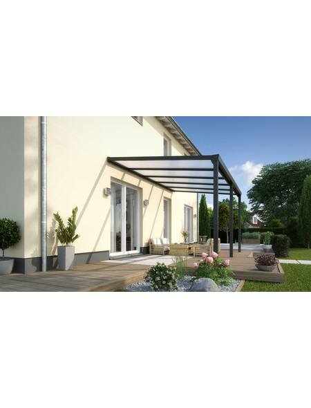 GARDENDREAMS Terrassendach »Legend Edition«, Breite: 1400 cm, Dach: Polycarbonat (PC), Farbe: anthrazit