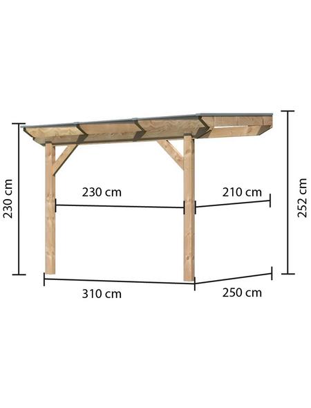 KARIBU Terrassendach »Premium 1«, H (max) x B x T: 252  x 310 x 250 cm