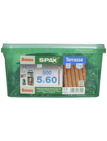 SPAX Terrassenschraube, 5 mm, Edelstahl rostfrei, 1 Stk., Terrasse A2 5x60 Bonus Set HKB L