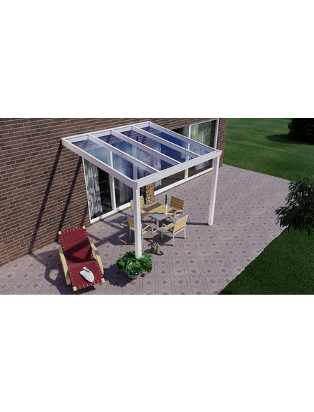 GARDENDREAMS Terrassenüberdachung »Easy Edition«, Breite: 300 cm, Dach: Glas, verkehrsweiß