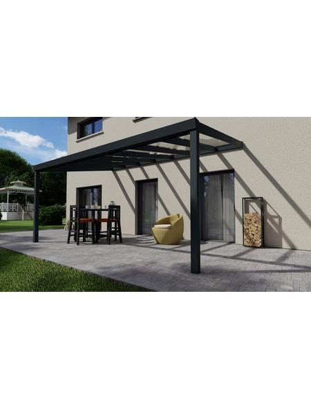 GARDENDREAMS Terrassenüberdachung »Easy Edition«, Breite: 500 cm, Dach: Glas, anthrazitgrau