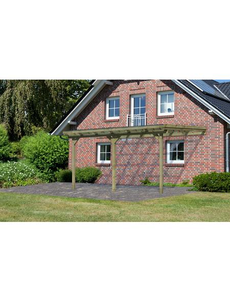 KARIBU Terrassenüberdachung »Eco Modell KDI 3«, Breite: 387 cm, Dach: Polyvinylchlorid (PVC), braun