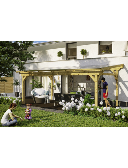 SKANHOLZ Terrassenüberdachung »Sanremo«, Breite: 648 cm, Dach: Polycarbonat (PC), natur