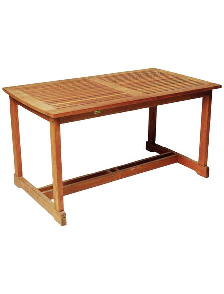 Tisch, BxHxL: 80 x 74 x 140 cm, Tischplatte: Eukalyptusholz