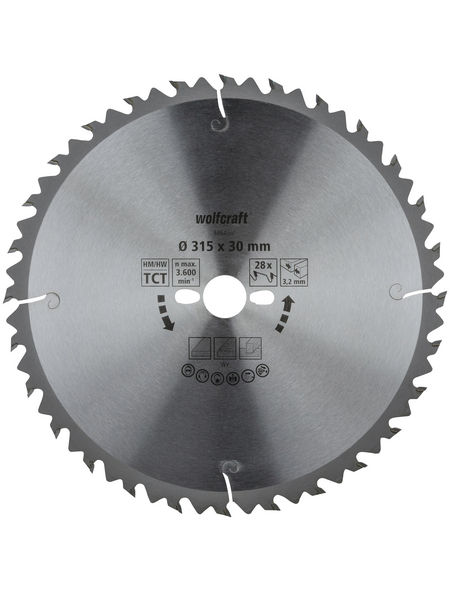 WOLFCRAFT Tisch-Kreissägeblätter, Durchmesser, 315 mm, Bohrdurchmesser 30 mm, 28 Zähne