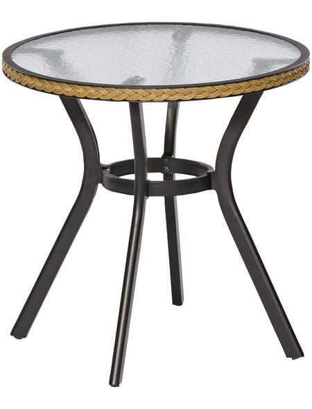Tisch, mit Sicherheitsglas-Tischplatte, Ø x H: 72 x 73 cm