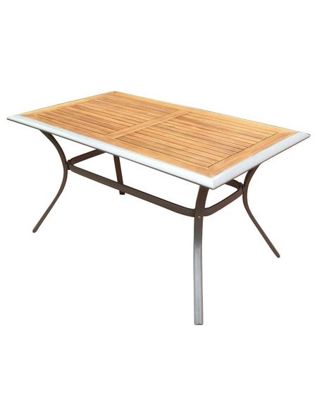 Tisch »Siena«, mit Akazienholz-Tischplatte, BxTxH: 80 x 140 x 76 cm