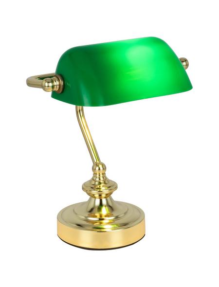 Tischleuchte »ANTIQUE« gruen/messingfarben mit 25 W, H: 24 cm, E14 ohne Leuchtmittel