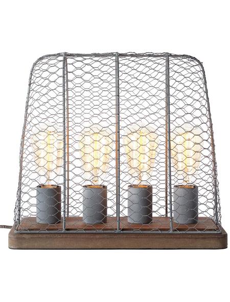 BRILLIANT Tischleuchte betonfarben mit 40 W, 4-flammig, H: 34 cm, E27 ohne Leuchtmittel